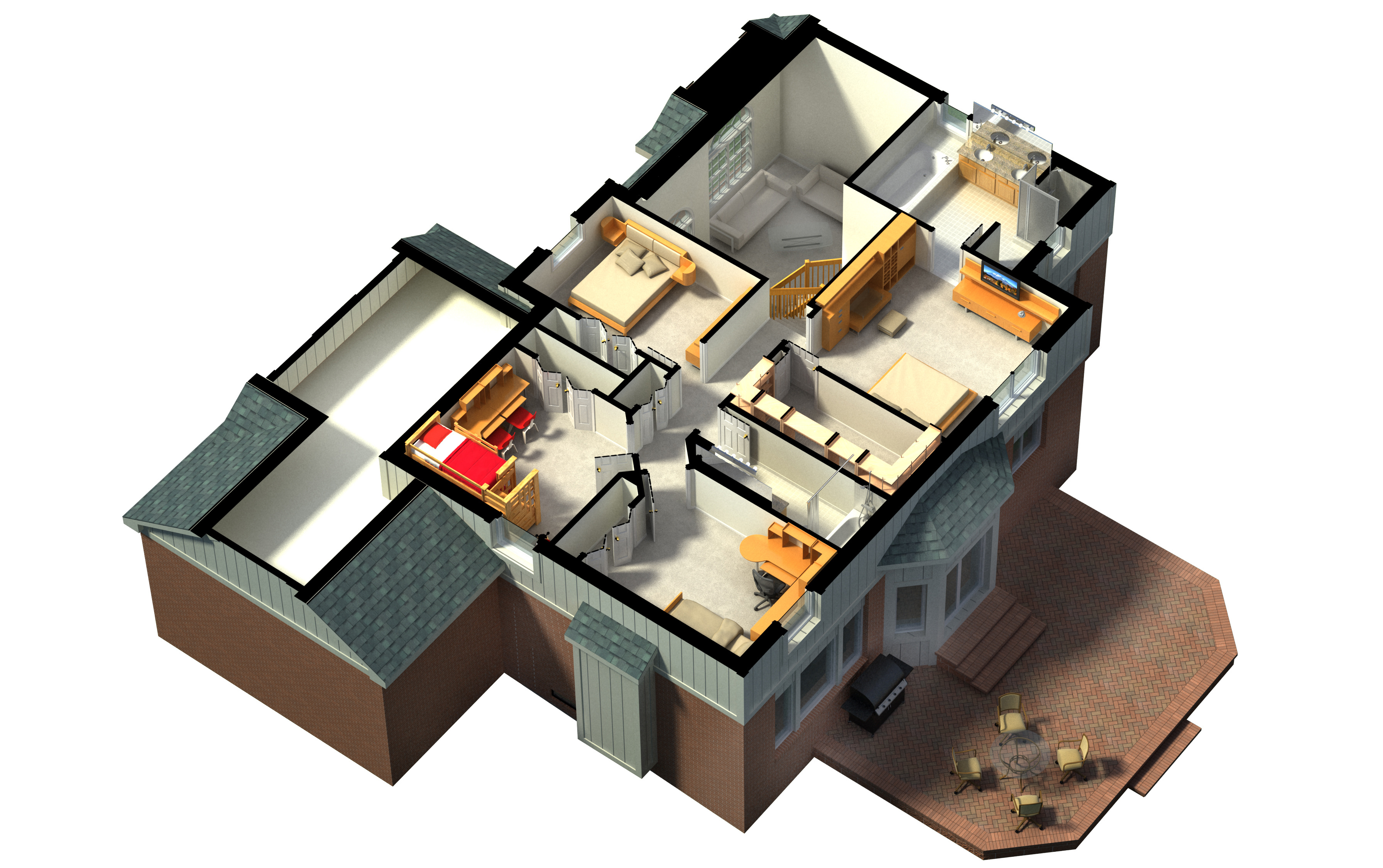 3D rendering of a furnished residential house, with the second floor, showing the staircase, bedrooms, bathrooms and walk-in closets and storage.