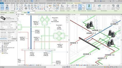 Revit 2019 model with pipes and fittings