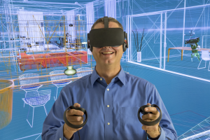 Guy with Oculus glasses viewed within an architectural 3D model