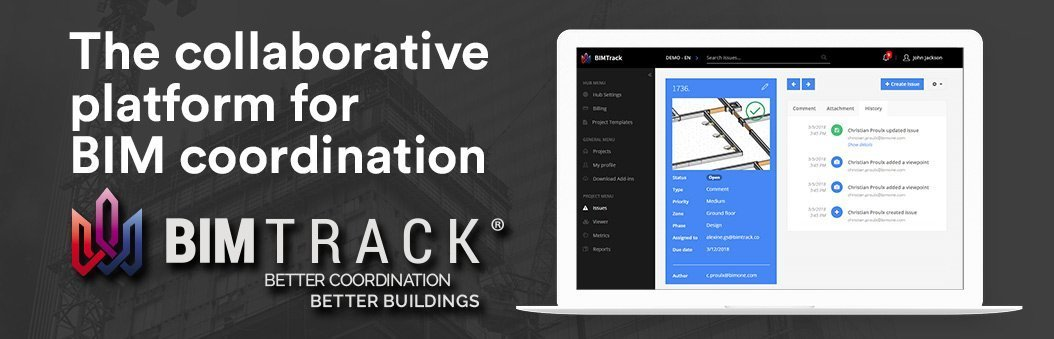 BIM Track - the collaborative platform for BIM coordination with logo and laptop image