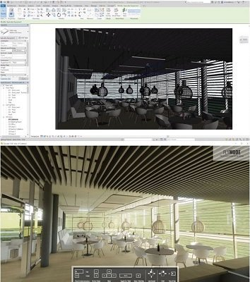 Revit + Enscape - Model of room with chairs and tables