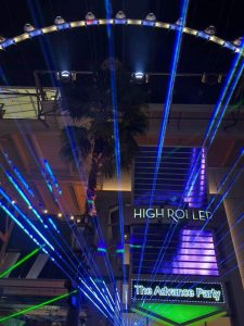 atuodesk university advance party showing laser lights at the high roller