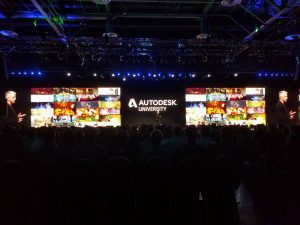 autodesk university stage ready for keynote speakers