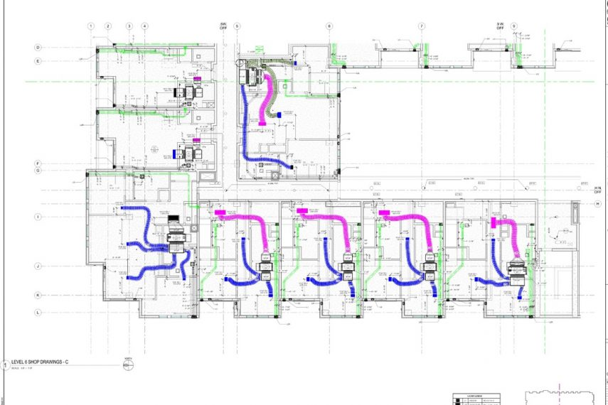 MEP layout on construction shop drawing with mechanical detail