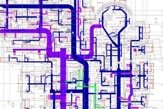Model of pipe layout and coordination in blue and purple.