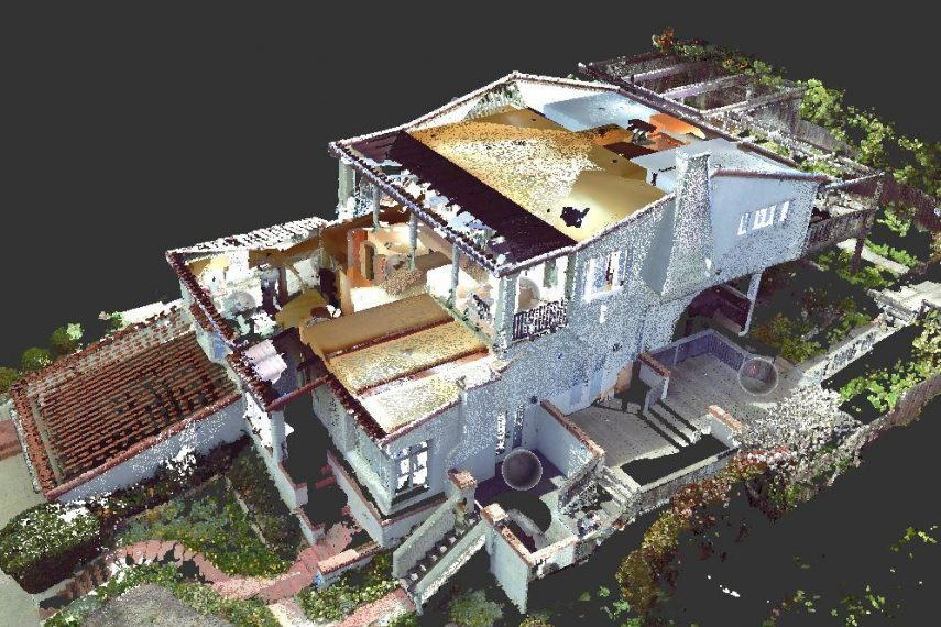 A 3D rendering of a residential home and the property surrounding it.