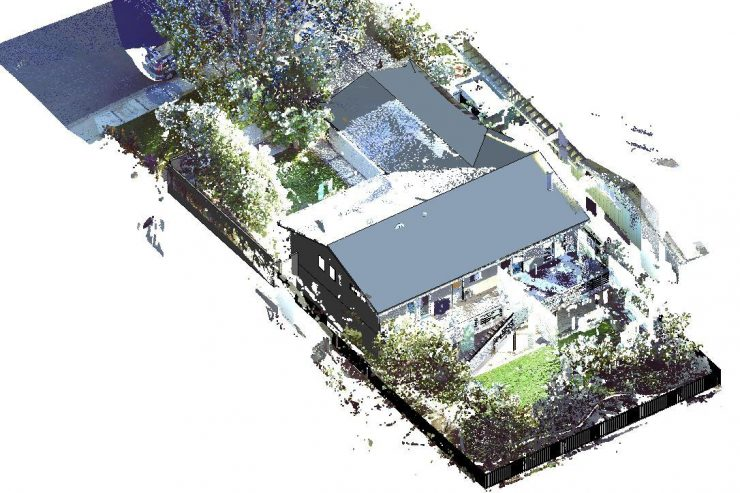 A 3D rendering of a residential home, and the fenced territory around it.