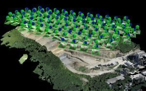 Image of the photographic locations above a construction site for photogrammetry use in creating a point cloud.