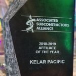 image of the Associated Subcontractors Alliance - Affiliate of the Year Award for Kelar Pacific
