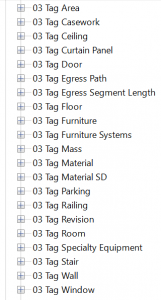 A sample of the file folder structure used to set up Revit families.