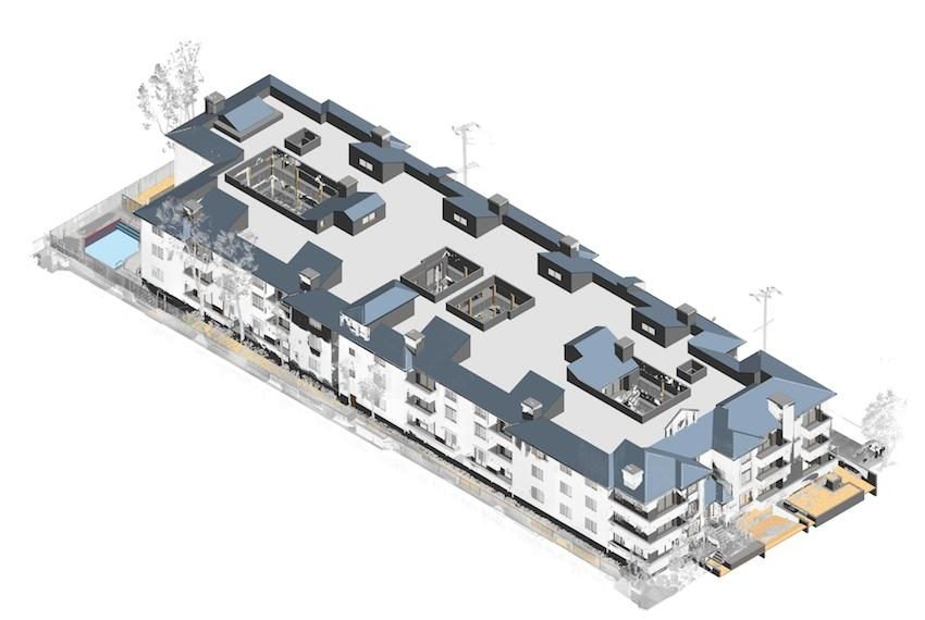 3D model of a multi-story building scan