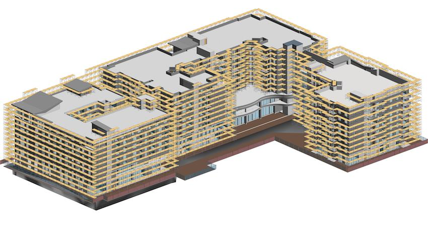Scaffolding model of a multi-story building