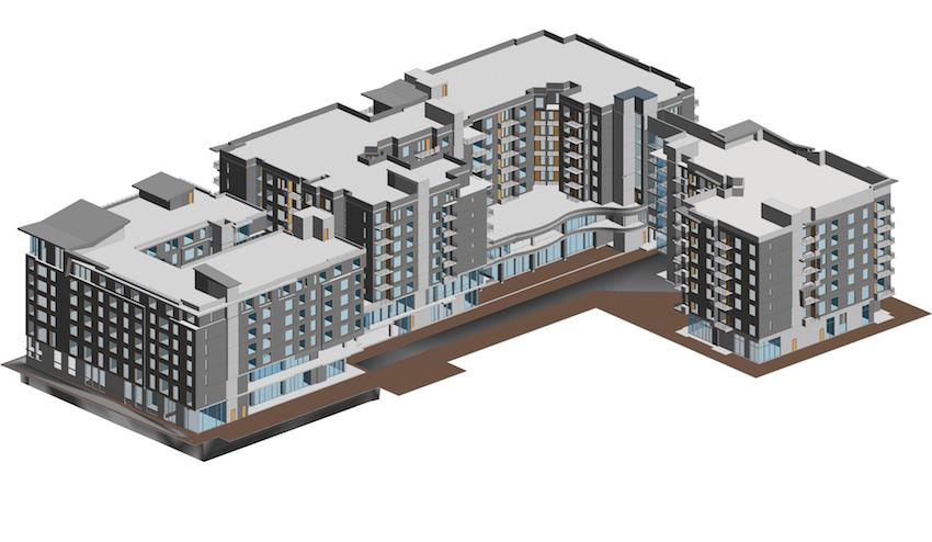 3D model of a multi-story building