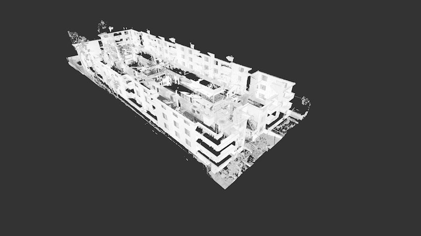 3D model of a drone scan of a multi-story building
