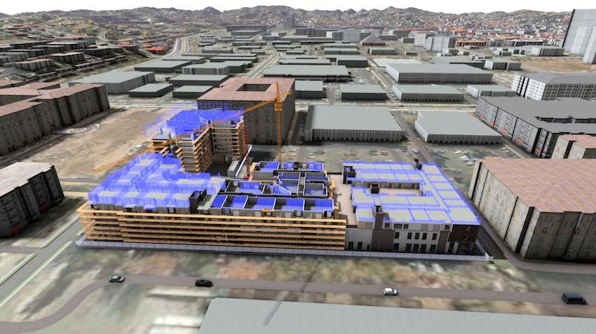 3D immersive pursuit model of a multi-story building