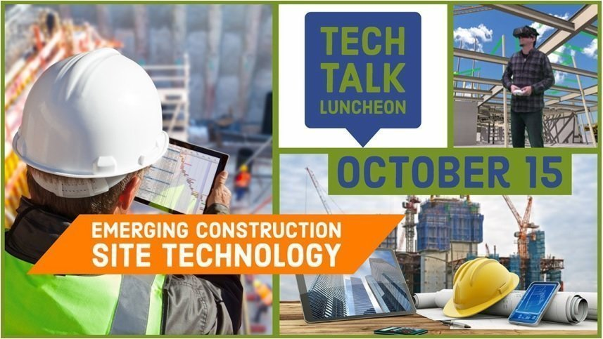 AGC Tech Talk 2019 with banners and a collage of construction image