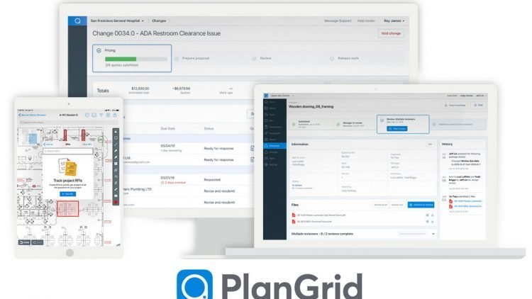 Autodesk PlanGrid screen shots on desktop, tablet and mobile devices