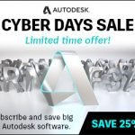 Cyber Days Sale image with steel letter formations of various Autodesk products.