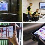 four photos of technology in use on construction sites.