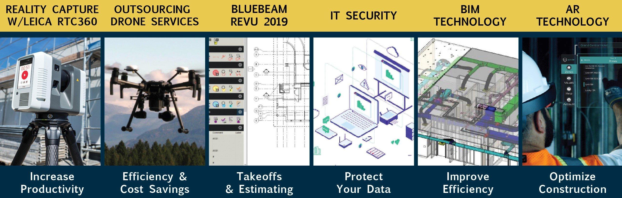 construction technology images for reality capture, revu, security, BIM, VR / AR