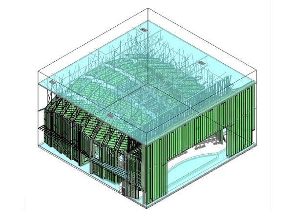 3D framing model of school auditorium