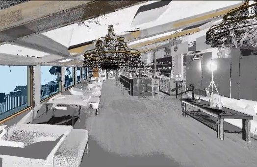 image of a laser scanned point cloud combined with the BIM model of a restaurant to be remodeled.