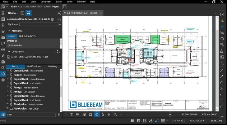 Bluebeam Revu screen shot - connecting teams with Studio