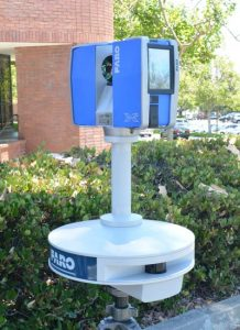 Faro FX330 3D laser scanner in front of an office building