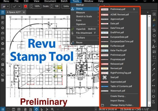 Revu Stamp Tool screen shot with title overlay