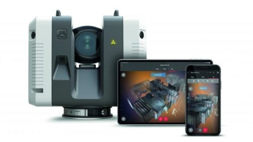 Leica RTC360 laser scanner image with tablet and cell phone