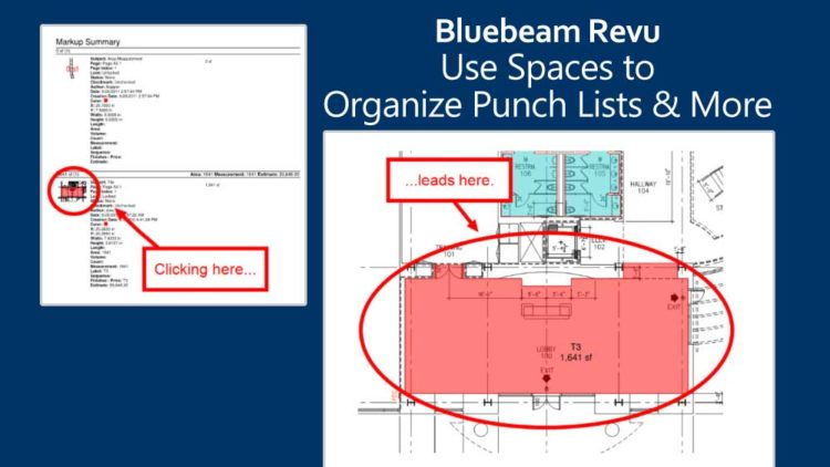 Bluebeam Revu screenshot showing the Spaces feature