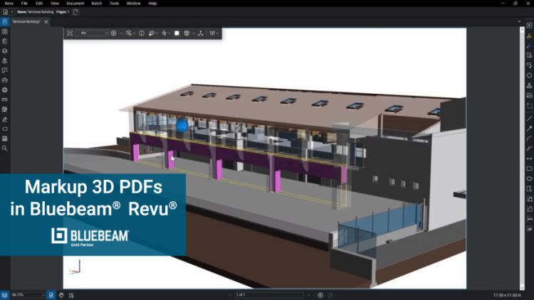 Bluebeam Revu image of a 3D PDF ready to review
