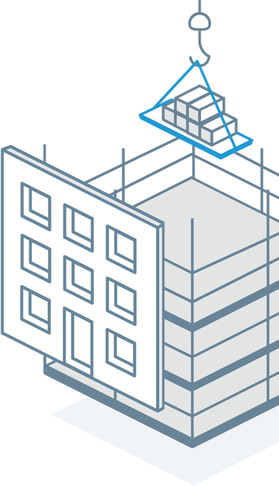 line art of building during construction