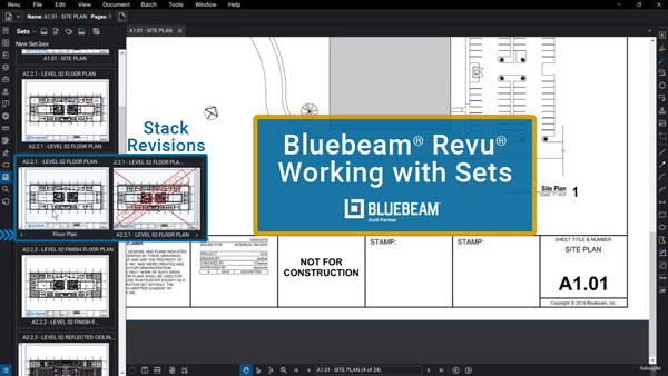 Bluebeam Revu screen shot for working with sets