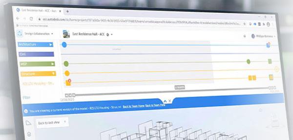 screen shot of autodesk bim collaborate pro showing swim lanes for disciplines