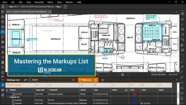 bluebeam revu mastering the markups list image for webinar